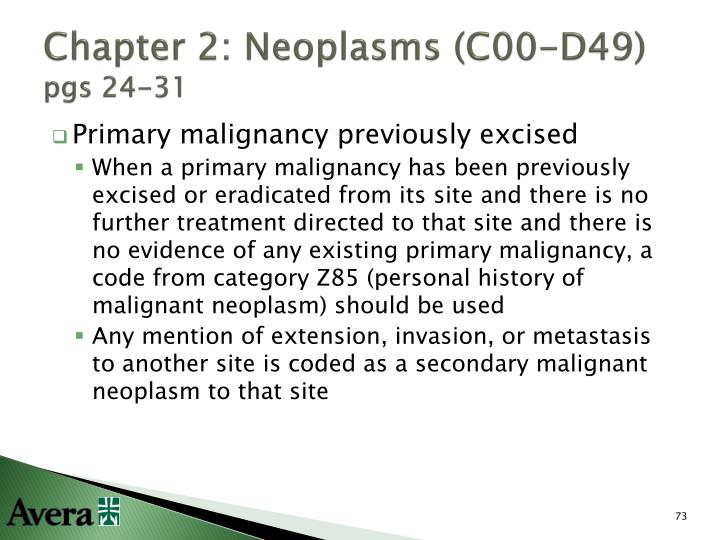 Chapter 2: Neoplasms (C00-D49)