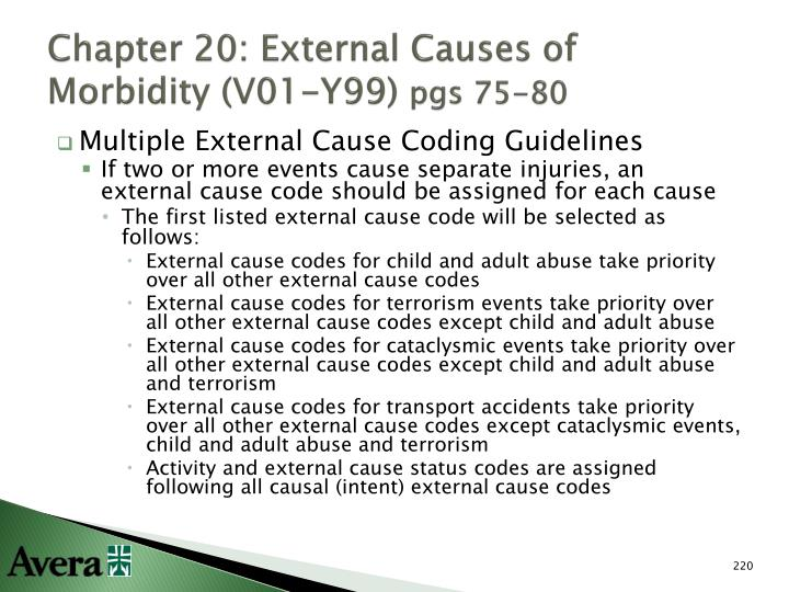 Chapter 20: External Causes of Morbidity (V01-Y99)