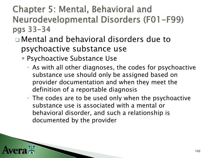 Chapter 5: Mental, Behavioral and Neurodevelopmental Disorders (F01-F99)