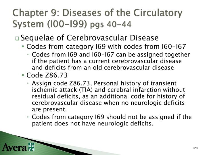 Chapter 9: Diseases of the Circulatory System (I00-I99)