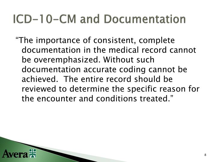 ICD-10-CM and Documentation