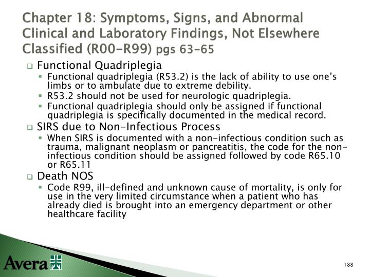Chapter 18: Symptoms, Signs, and Abnormal Clinical and Laboratory Findings, Not Elsewhere Classified (R00-R99)