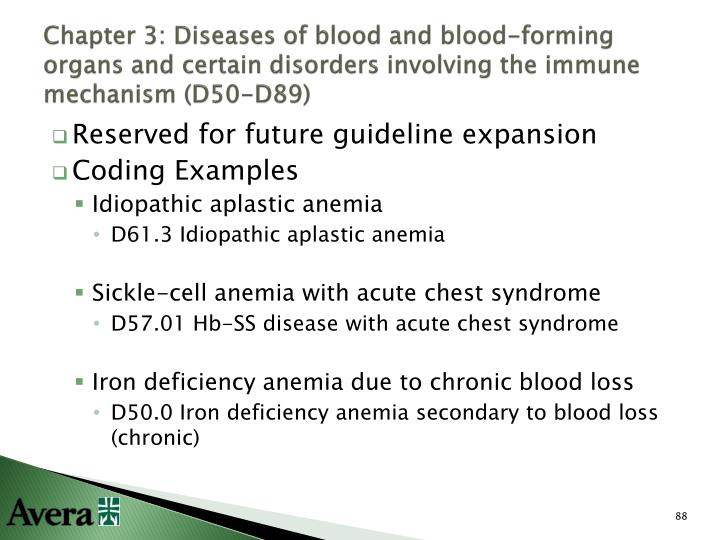 Chapter 3: Diseases of blood and blood-forming organs and certain disorders involving the immune mechanism (D50-D89)