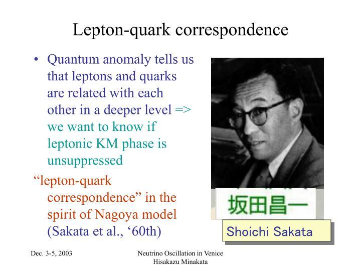 Lepton quark correspondence