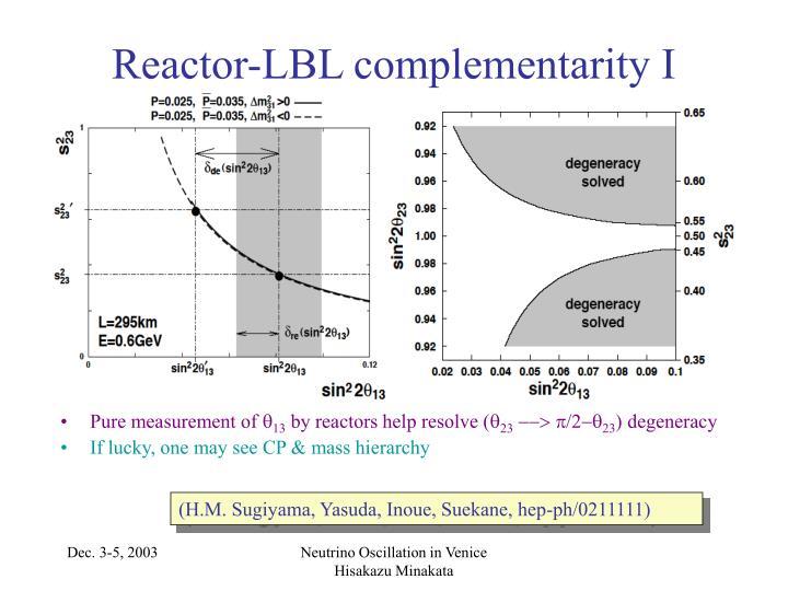 Reactor-LBL complementarity I