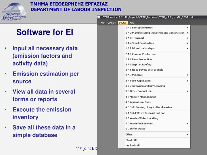 Software for EI