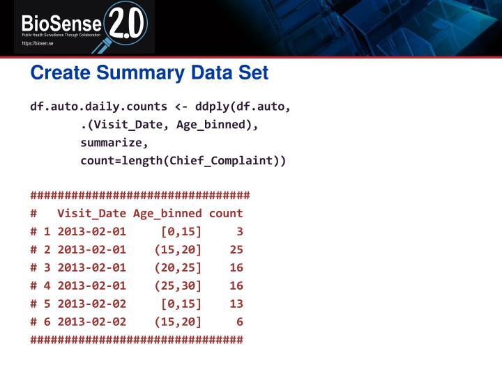 Create Summary Data Set