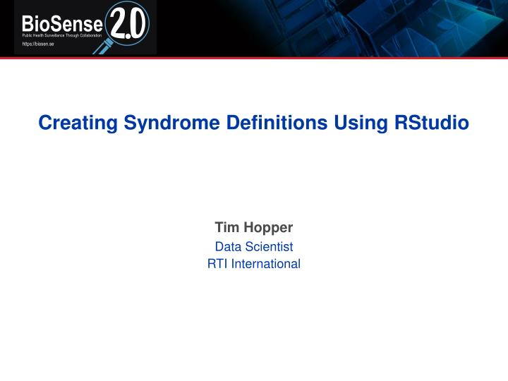 Creating syndrome definitions using rstudio