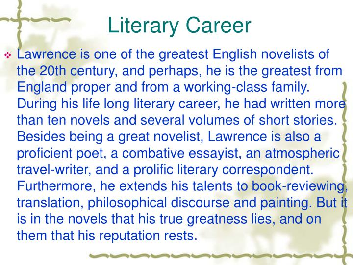 Literary Career