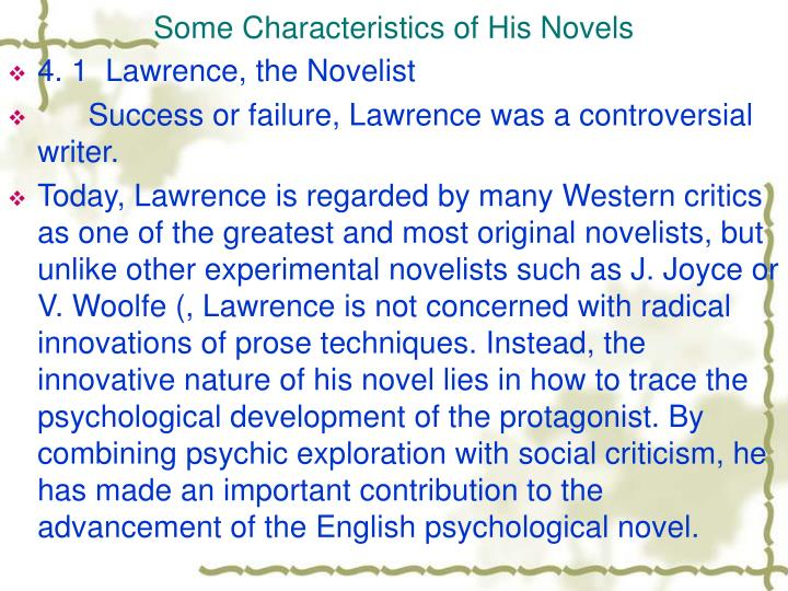 Some Characteristics of His Novels