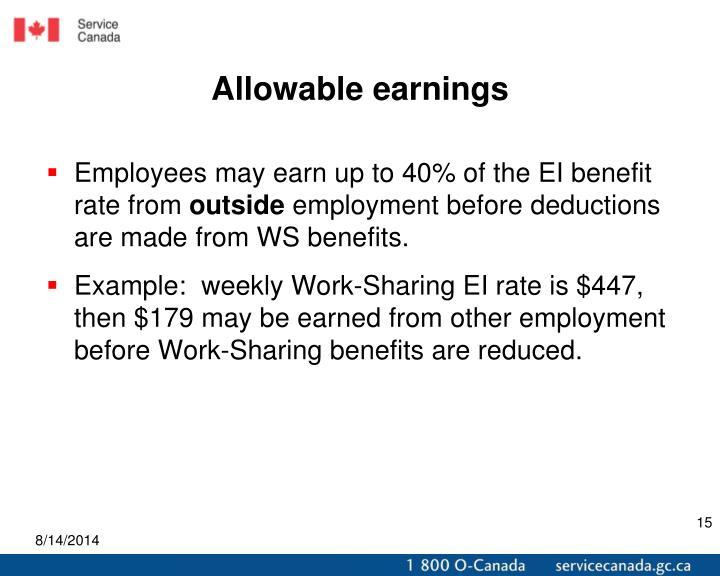 Allowable earnings