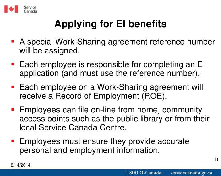 Applying for EI benefits