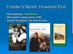forster s novel howards end