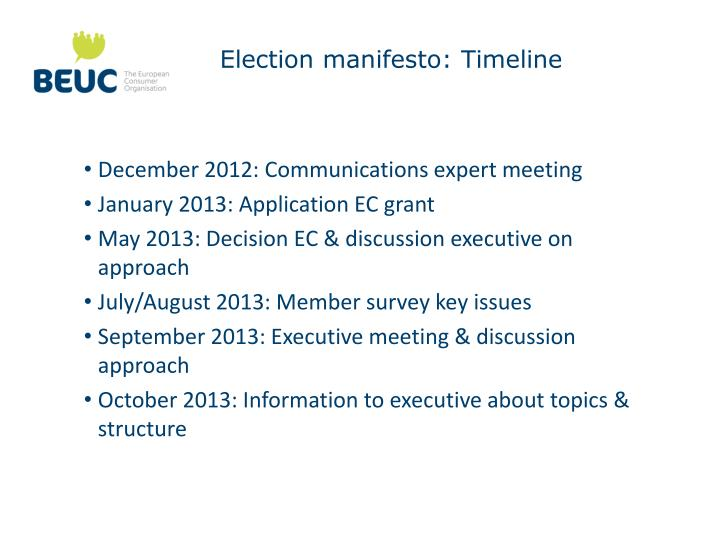 Election manifesto: Timeline