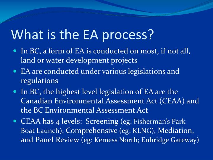 What is the EA process?