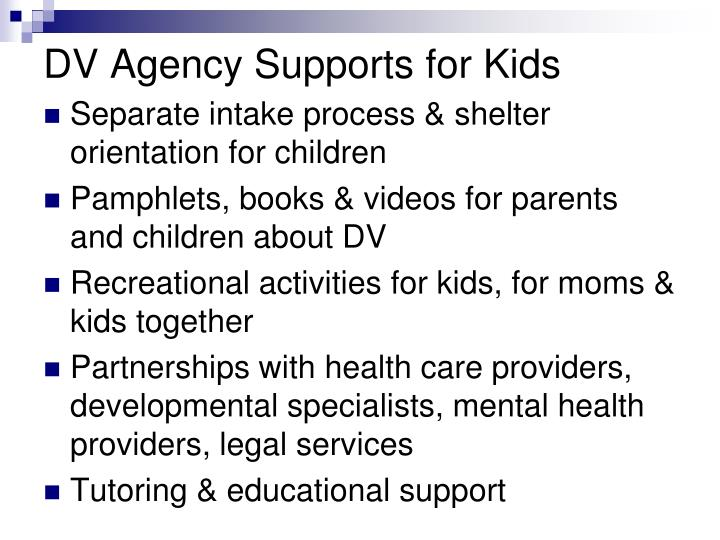 DV Agency Supports for Kids