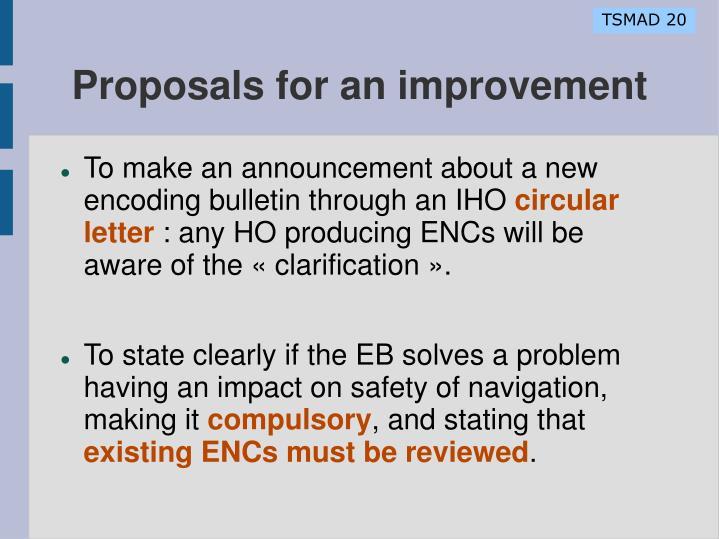 Proposals for an improvement