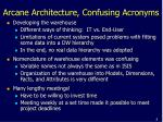 arcane architecture confusing acronyms