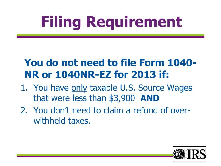 Filing Requirement