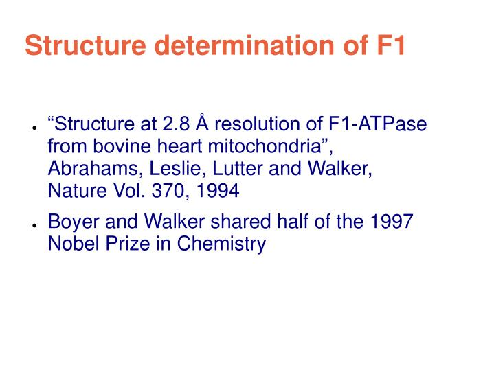 Structure determination of F1