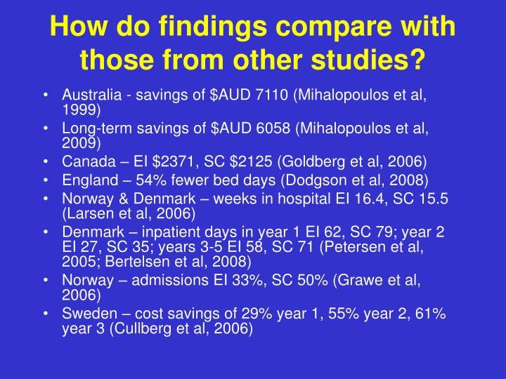 How do findings compare with those from other studies?