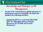 knowledge and dialogue on ei management