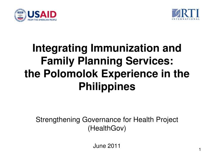 integrating immunization and family planning services the polomolok experience in the philippines n.