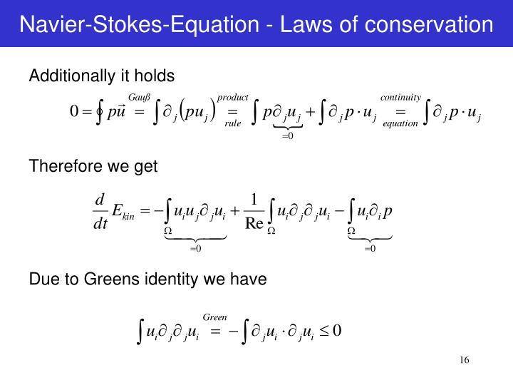 Navier-Stokes-Equation - Laws of conservation