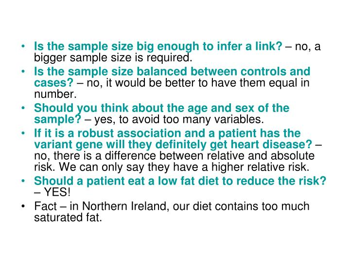 Is the sample size big enough to infer a link?