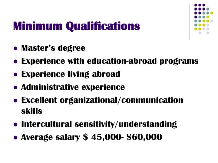 Minimum Qualifications