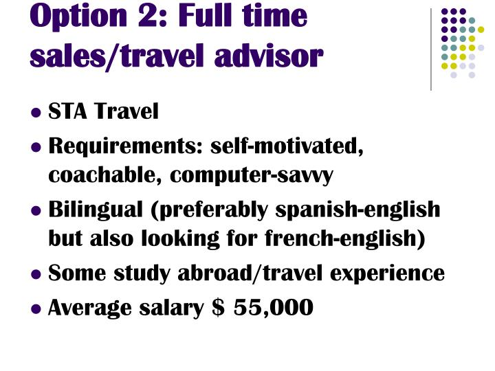 Option 2: Full time sales/travel advisor