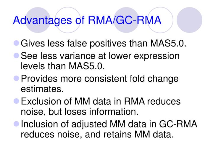 Advantages of RMA/GC-RMA