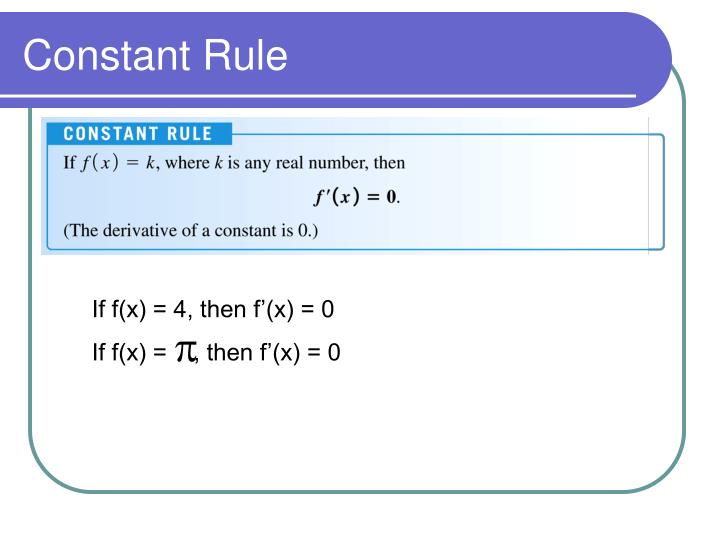 Constant Rule