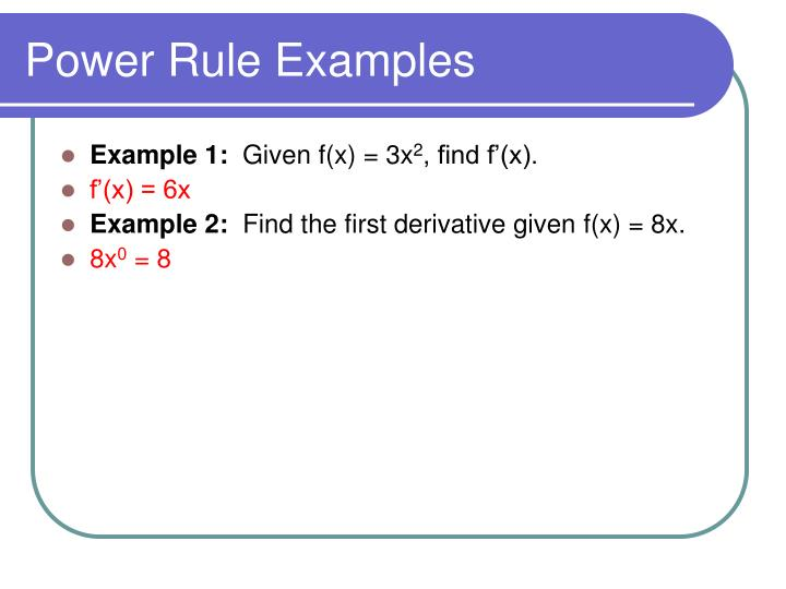 Power Rule Examples