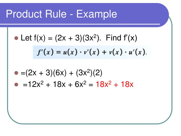 Product Rule - Example