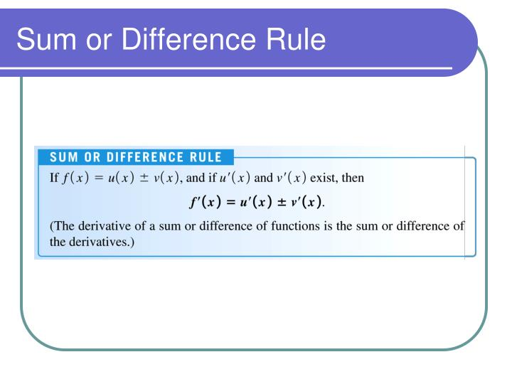 Sum or Difference Rule