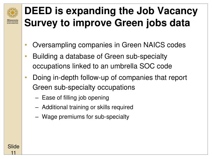 DEED is expanding the Job Vacancy Survey to improve Green jobs data