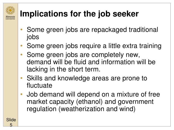 Implications for the job seeker