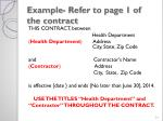 example refer to page 1 of the contract