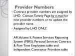 provider numbers1