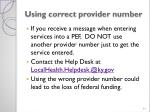 using correct provider number