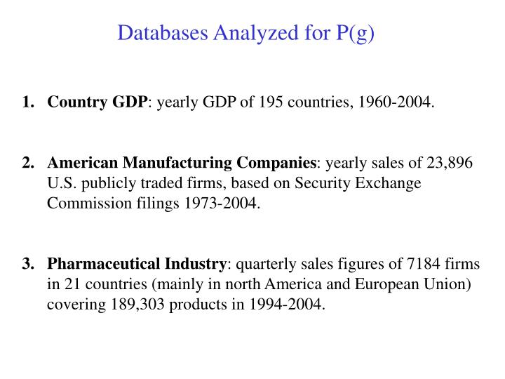 Databases Analyzed for P(g)