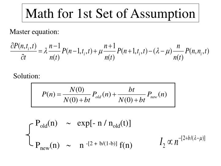 Math for 1st Set of Assumption