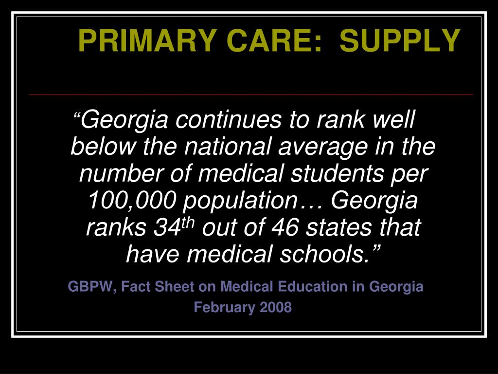 PPT - PRIMARY CARE IN GEORGIA PowerPoint Presentation - ID