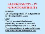 allergenicity in vitro digestibility