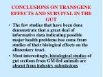 conclusions on transgene effects and survival in the gut