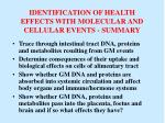 identification of health effects with molecular and cellular events summary