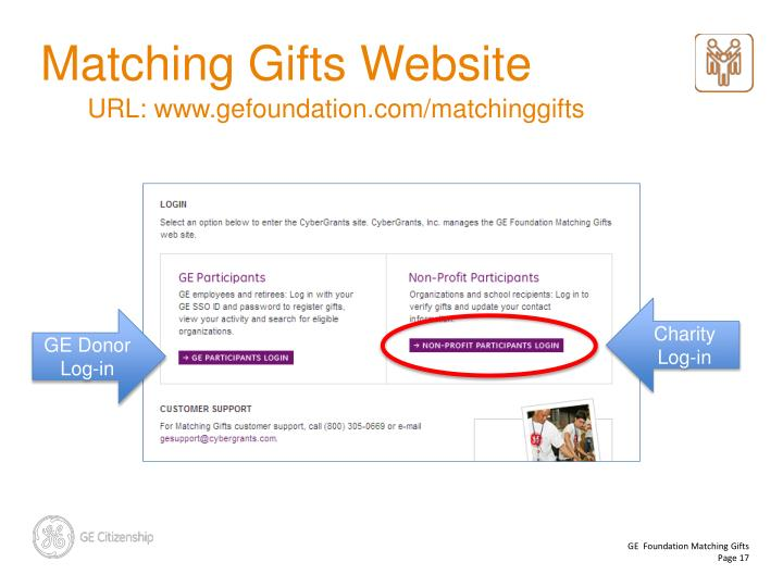 GE Foundation Makes Quarterly Payments. slide17. Matching Gifts Website
