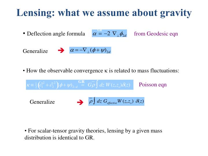 Lensing: what we assume about gravity