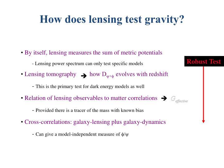 How does lensing test gravity?